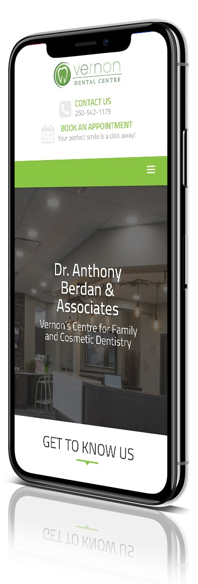 Velocity PCM & Vernon Dental Centre - iPhone X angled image